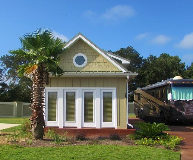 domek, palma, karavan