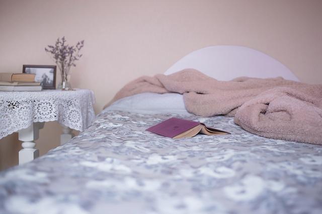 postel, deka, knihy